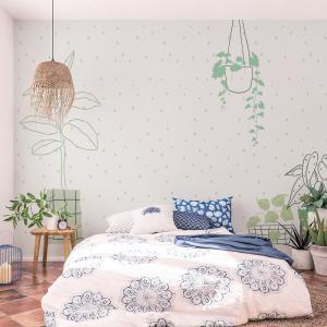 Papel De Parede - doodle de planta de casa Vinil 0,010mm - Autocolante Sob medida - Painel Impressão Digital - Fosco - Divididos em Rolos de 50cm - Todas as Imagens são MERAMENTE ILUSTRATIVAS.