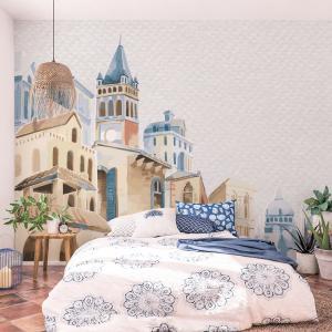 Papel De Parede - edifícios arquitetônicos do Mediterrâneo em aquarela Vinil 0,010mm - Autocolante Sob medida - Painel Impressão Digital - Fosco - Divididos em Rolos de 50cm - Todas as Imagens são MERAMENTE ILUSTRATIVAS.