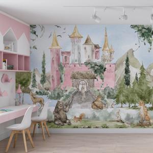 Papel De Parede - Fabulous Castles menina mod. 01 Vinil 0,010mm - Autocolante Sob medida - Painel Impressão Digital - Fosco - Divididos em Rolos de 50cm - Todas as Imagens são MERAMENTE ILUSTRATIVAS.