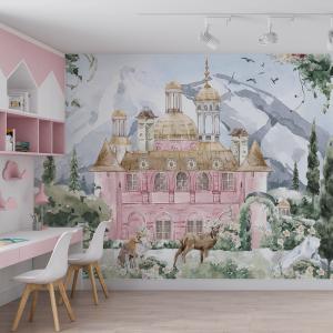 Papel De Parede - Fabulous Castles menina Vinil 0,010mm - Autocolante Sob medida - Painel Impressão Digital - Fosco - Divididos em Rolos de 50cm - Todas as Imagens são MERAMENTE ILUSTRATIVAS.