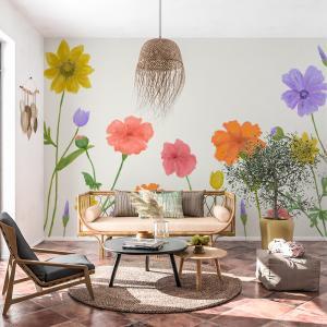 Papel De Parede - floral de verão em cores alegres Vinil 0,010mm - Autocolante Sob medida - Painel Impressão Digital - Fosco - Divididos em Rolos de 50cm - Todas as Imagens são MERAMENTE ILUSTRATIVAS.