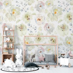Papel De Parede - Flores em aquarela branco com folhas Vinil 0,010mm - Autocolante Sob medida - Painel Impressão Digital - Fosco - Divididos em Rolos de 50cm - Todas as Imagens são MERAMENTE ILUSTRATIVAS.