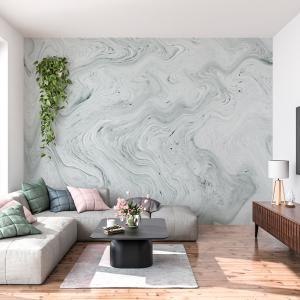 Papel De Parede - fluida cinza marmorizado tinta Vinil 0,010mm - Autocolante Sob medida - Painel Impressão Digital - Fosco - Divididos em Rolos de 50cm - Todas as Imagens são MERAMENTE ILUSTRATIVAS.