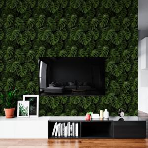 Papel De Parede - folhas verdes tropicais Vinil 0,010mm - Autocolante Sob medida - Padrão Impressão Digital - Fosco - Divididos em Rolos de 50cm - Todas as Imagens são MERAMENTE ILUSTRATIVAS.