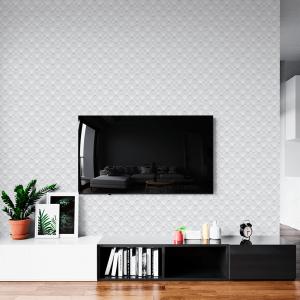 Papel De Parede - Larga geométrica branca Vinil 0,010mm - Autocolante Sob medida - Padrão Impressão Digital - Fosco - Divididos em Rolos de 50cm - Todas as Imagens são MERAMENTE ILUSTRATIVAS.
