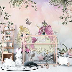 Papel De Parede - linda princesa menina com unicórnio Vinil 0,010mm - Autocolante Sob medida - Painel Impressão Digital - Fosco - Divididos em Rolos de 50cm - Todas as Imagens são MERAMENTE ILUSTRATIVAS.