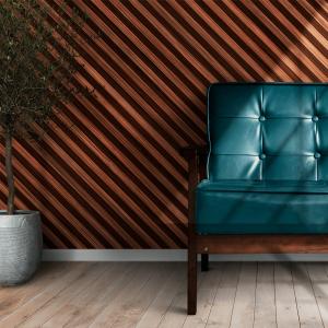 Papel De Parede - Listras diagonais textura de madeira Vinil 0,010mm - Autocolante Sob medida - Padrão Impressão Digital Fosco - Liso Divididos em Rolos de 50cm Todas as Imagens são MERAMENTE ILUSTRATIVAS.