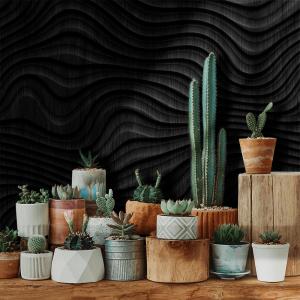 Papel De Parede - madeira preta ilustração 3D Vinil 0,010mm - Autocolante Sob medida - Painel Impressão Digital - Fosco - Divididos em Rolos de 50cm - Todas as Imagens são MERAMENTE ILUSTRATIVAS.