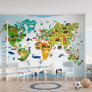 Papel De Parede - Mapa animal do mundo Vinil 0,010mm - Autocolante Sob medida - Painel Impressão Digital - Fosco - Divididos em Rolos de 50cm - Todas as Imagens são MERAMENTE ILUSTRATIVAS.