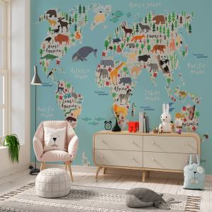 Papel De Parede - Mapa animal do mundo para crianças Vinil 0,010mm - Autocolante Sob medida - Painel Impressão Digital - Fosco - Divididos em Rolos de 50cm - Todas as Imagens são MERAMENTE ILUSTRATIVAS.