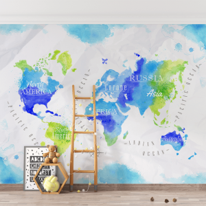 Papel De Parede - Mapa do Mundo Aquarela Vinil 0,010mm - Autocolante Sob medida - Painel Impressão Digital - Fosco - Divididos em Rolos de 50cm - Todas as Imagens são MERAMENTE ILUSTRATIVAS.