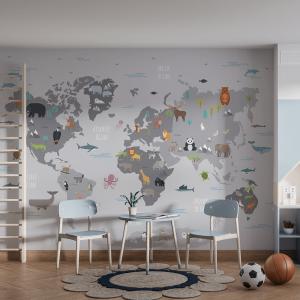 Papel De Parede - Mapa do mundo com animais selvagens Vinil 0,010mm - Autocolante Sob medida - Painel Impressão Digital - Fosco - Divididos em Rolos de 50cm - Todas as Imagens são MERAMENTE ILUSTRATIVAS.