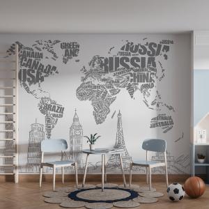 Papel De Parede - Mapa do Mundo em Tipografia Vinil 0,010mm - Sob medida - Impressão Digital - Fosco - Divididos em Rolos de 50cm - Todas as Imagens são MERAMENTE ILUSTRATIVAS.