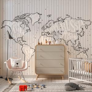 Papel De Parede - Mapa do mundo vintage com inscrição Groenlândia Vinil 0,010mm - Autocolante Sob medida - Painel Impressão Digital - Fosco - Divididos em Rolos de 50cm - Todas as Imagens são MERAMENTE ILUSTRATIVAS.