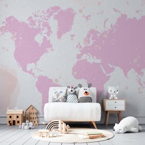 Papel De Parede - Mapa Mundo Rosa Pastel Vinil 0,010mm - Autocolante Sob medida - Painel Impressão Digital - Fosco - Divididos em Rolos de 50cm - Todas as Imagens são MERAMENTE ILUSTRATIVAS.
