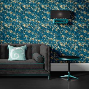 Papel De Parede - mármore azul e dourado mod. 02 Vinil 0,010mm - Autocolante Sob medida - Padrão Impressão Digital - Fosco - Divididos em Rolos de 50cm - Todas as Imagens são MERAMENTE ILUSTRATIVAS.