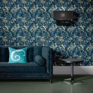 Papel De Parede - mármore azul e dourado mod. 07 Vinil 0,010mm - Autocolante Sob medida - Padrão Impressão Digital - Fosco - Divididos em Rolos de 50cm - Todas as Imagens são MERAMENTE ILUSTRATIVAS.
