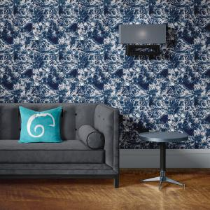 Papel De Parede - mármore azul e prata mod. 02 Vinil 0,010mm - Autocolante Sob medida - Padrão Impressão Digital - Fosco - Divididos em Rolos de 50cm - Todas as Imagens são MERAMENTE ILUSTRATIVAS.