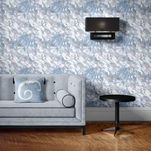 Papel De Parede - mármore azul e prata mod. 05 Vinil 0,010mm - Autocolante Sob medida - Padrão Impressão Digital - Fosco - Divididos em Rolos de 50cm - Todas as Imagens são MERAMENTE ILUSTRATIVAS.