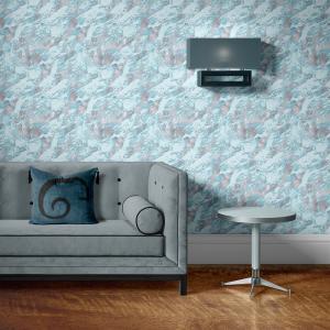 Papel De Parede - mármore azul e prata mod. 06 Vinil 0,010mm - Autocolante Sob medida - Padrão Impressão Digital - Fosco - Divididos em Rolos de 50cm - Todas as Imagens são MERAMENTE ILUSTRATIVAS.