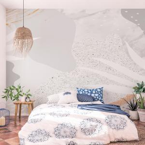 Papel De Parede - mármore branco acinzentado Vinil 0,010mm - Autocolante Sob medida - Painel Impressão Digital - Fosco - Divididos em Rolos de 50cm - Todas as Imagens são MERAMENTE ILUSTRATIVAS.