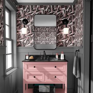 Papel De Parede - mármore e rosa dourado mod. 03 Vinil 0,010mm - Autocolante Sob medida - Painel Impressão Digital - Todas as Imagens são MERAMENTE ILUSTRATIVAS. Fosco - Divididos em Rolos de 50cm - Criação da Designer Karamfilas da Academia de Artes da Bulgária