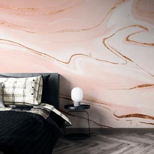 Papel De Parede - mármore líquido com textura de brilho dourado Vinil 0,010mm - Autocolante Sob medida - Painel Impressão Digital - Fosco - Divididos em Rolos de 50cm - Todas as Imagens são MERAMENTE ILUSTRATIVAS.