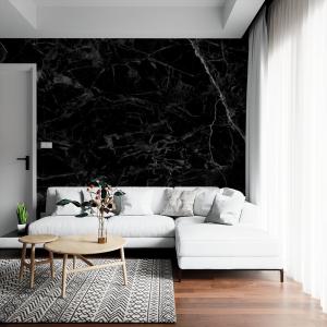 Papel De Parede - mármore preto Vinil 0,010mm - Autocolante Sob medida - Painel Impressão Digital - Fosco - Divididos em Rolos de 50cm - Todas as Imagens são MERAMENTE ILUSTRATIVAS.