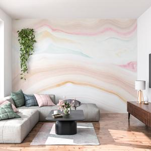 Papel De Parede - mármore rosa pastel Vinil 0,010mm - Autocolante Sob medida - Painel Impressão Digital - Fosco - Divididos em Rolos de 50cm - Todas as Imagens são MERAMENTE ILUSTRATIVAS.