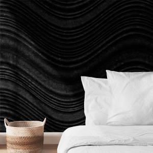 Papel De Parede - metal preto com ondas ilustração 3D Vinil 0,010mm - Autocolante Sob medida - Painel Impressão Digital - Fosco - Divididos em Rolos de 50cm - Todas as Imagens são MERAMENTE ILUSTRATIVAS.
