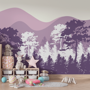 Papel De Parede - Montanhas e Árvores Lilás Vinil 0,010mm - Autocolante Sob medida - Painel Impressão Digital - Fosco - Divididos em Rolos de 50cm - Todas as Imagens são MERAMENTE ILUSTRATIVAS.