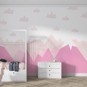 Papel De Parede - Montanhas Rosas e Nuvens Vinil 0,010mm - Autocolante Sob medida - Painel Impressão Digital - Fosco - Divididos em Rolos de 50cm - Todas as Imagens são MERAMENTE ILUSTRATIVAS.