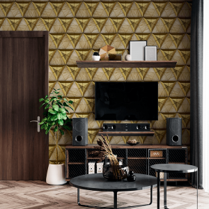 Papel De Parede - Mosaico 3D madeira e luxuosos metálicos dourados Vinil 0,010mm - Autocolante Sob medida - Padrão Impressão Digital Fosco - Liso Divididos em Rolos de 50cm Todas as Imagens são MERAMENTE ILUSTRATIVAS.