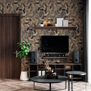 Papel De Parede - Mosaico 3D madeira maciça e mármore luxuoso Vinil 0,010mm - Autocolante Sob medida - Padrão Impressão Digital Fosco - Liso Divididos em Rolos de 50cm Todas as Imagens são MERAMENTE ILUSTRATIVAS.