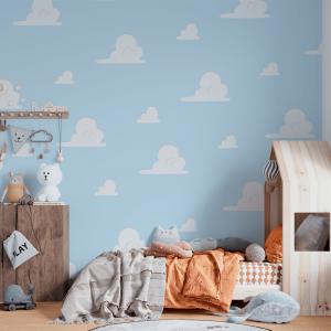 Papel De Parede - Nuvens Fundo Azul mod 2 Vinil 0,010mm - Autocolante Sob medida - Painel Impressão Digital - Fosco - Divididos em Rolos de 50cm - Todas as Imagens são MERAMENTE ILUSTRATIVAS.