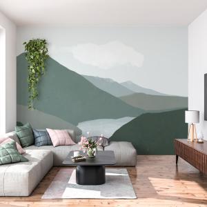 Papel De Parede - paisagem de montanhas com rio Vinil 0,010mm - Autocolante Sob medida - Painel Impressão Digital - Fosco - Divididos em Rolos de 50cm - Todas as Imagens são MERAMENTE ILUSTRATIVAS.