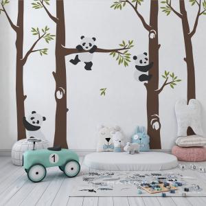 Papel De Parede - Panda na árvore Vinil 0,010mm - Autocolante Sob medida - Painel Impressão Digital Fosco - Liso Divididos em Rolos de 50cm Todas as Imagens são MERAMENTE ILUSTRATIVAS.