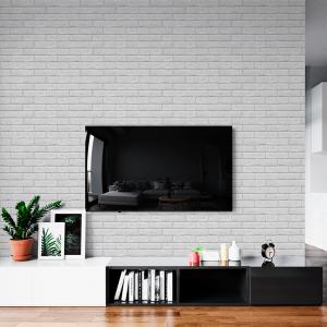 Papel De Parede - Parede de tijolo branco Vinil 0,010mm - Sob medida - Impressão Digital - Fosco - Divididos em Rolos de 50cm - Todas as Imagens são MERAMENTE ILUSTRATIVAS.