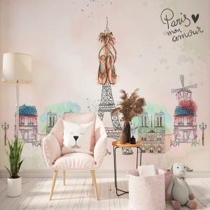 Papel De Parede - Paris mão desenhada doodles Bailarina Vinil 0,010mm - Autocolante Sob medida - Painel Impressão Digital - Fosco - Divididos em Rolos de 50cm - Todas as Imagens são MERAMENTE ILUSTRATIVAS.