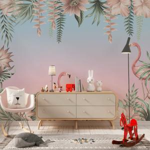 Papel De Parede - pássaro flamingo rosa Vinil 0,010mm - Autocolante Sob medida - Painel Impressão Digital - Fosco - Divididos em Rolos de 50cm - Todas as Imagens são MERAMENTE ILUSTRATIVAS.