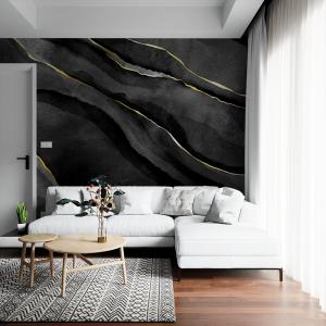 Papel De Parede - Pedra de marmore preta com veios dourados Vinil 0,010mm - Autocolante Sob medida - Painel Impressão Digital - Fosco - Divididos em Rolos de 50cm - Todas as Imagens são MERAMENTE ILUSTRATIVAS.