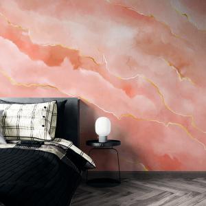 Papel De Parede - pedra rosa mármore com traços dourados Vinil 0,010mm - Autocolante Sob medida - Painel Impressão Digital - Fosco - Divididos em Rolos de 50cm - Todas as Imagens são MERAMENTE ILUSTRATIVAS.