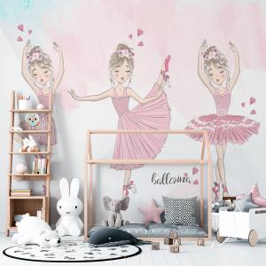 Papel De Parede - pequena bailarinas menina com grinaldas Vinil 0,010mm - Autocolante Sob medida - Painel Impressão Digital - Fosco - Divididos em Rolos de 50cm - Todas as Imagens são MERAMENTE ILUSTRATIVAS.
