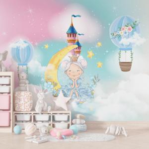 Papel De Parede - Princesinha na lua com balões Vinil 0,010mm - Autocolante Sob medida - Painel Impressão Digital - Fosco - Divididos em Rolos de 50cm - Todas as Imagens são MERAMENTE ILUSTRATIVAS.