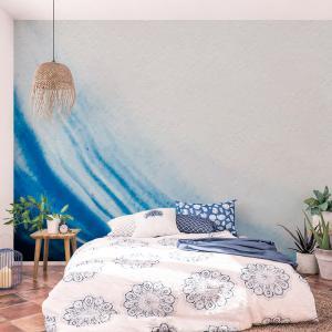 Papel De Parede - pincelada de cor de água azul Vinil 0,010mm - Autocolante Sob medida - Painel Impressão Digital - Fosco - Divididos em Rolos de 50cm - Todas as Imagens são MERAMENTE ILUSTRATIVAS.