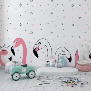 Papel De Parede - Pink flamingo Doodle Vinil 0,010mm - Autocolante Sob medida - Painel Impressão Digital - Fosco - Divididos em Rolos de 50cm - Todas as Imagens são MERAMENTE ILUSTRATIVAS.