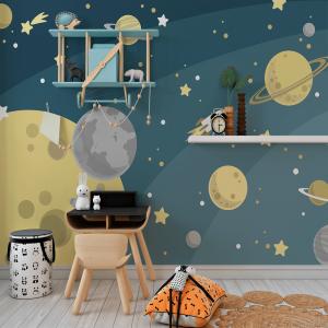 Papel De Parede - Planetas e a lua Vinil 0,010mm - Autocolante Sob medida - Painel Impressão Digital - Fosco - Divididos em Rolos de 50cm - Todas as Imagens são MERAMENTE ILUSTRATIVAS.
