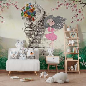 Papel De Parede - Princesa menina bonitinha Vinil 0,010mm - Autocolante Sob medida - Painel Impressão Digital - Fosco - Divididos em Rolos de 50cm - Todas as Imagens são MERAMENTE ILUSTRATIVAS.