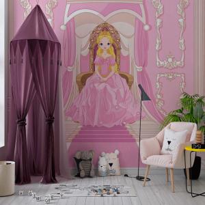 Papel De Parede - Princesa sentada em seu trono Vinil 0,010mm - Autocolante Sob medida - Painel Impressão Digital - Fosco - Divididos em Rolos de 50cm - Todas as Imagens são MERAMENTE ILUSTRATIVAS.