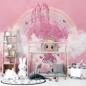 Papel De Parede - Princesa em um vestido rosa com flores Vinil 0,010mm - Autocolante Sob medida - Painel Impressão Digital - Fosco - Divididos em Rolos de 50cm - Todas as Imagens são MERAMENTE ILUSTRATIVAS.